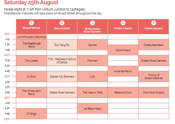 celebrate Aberdeen timetable